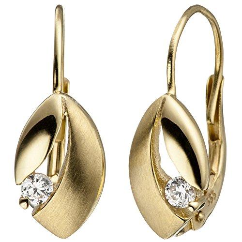 JOBO Boutons 333 Gold Gelbgold matt 2 Zirkonia Ohrringe Ohrhänger Goldohrringe
