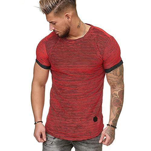 Shirt Herren Gestreift Sport Laufshirt Rundhals Wicking Herren Tshirt Breathable Gym Running Workout Outdoor Reise Muskelshirt Sport Atmungsaktiv Sommer Herren Sportshirt B-Red XL