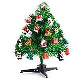 KUUQA 30cm Mini árboles de Navidad de Mesa Mini pinos con 22 Piezas Mini Adornos navideños para Decoraciones de Casas navideñas Accesorios de Aldea navideña