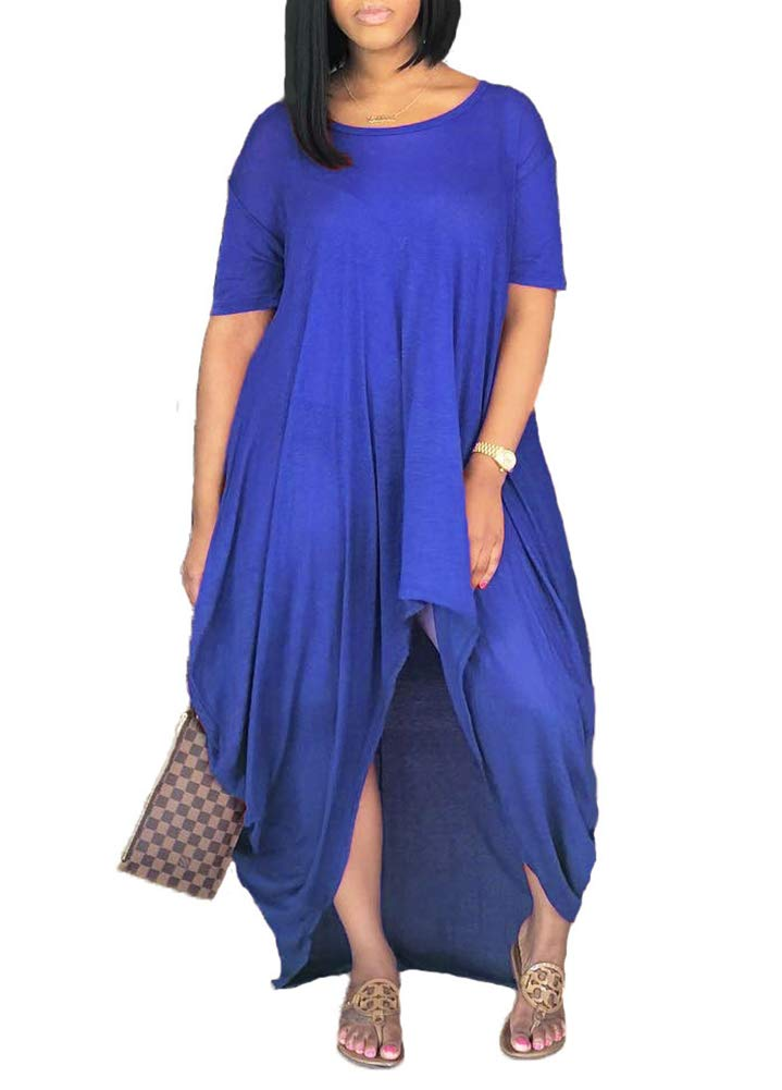 Available at Amazon: Remelon Women Short Sleeve Loose Fit Ruched High Low Asymmetrical Swing T Shirt Long Maxi Dress