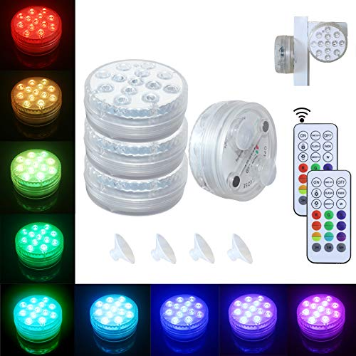 Submersible LED Lights [4 Pack] Waterproof Light Multi Color Battery Operated Remote Control Wireless 10-LED Reusable Light for Party,Vase,Christmas,Aquarium,Tub,Shower,Pond,IP68 Submersible Light