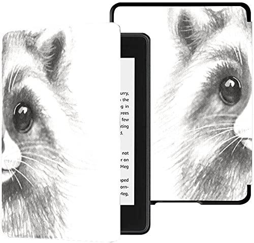 Estuche para el Nuevo Kindle Paperwhite Funda de Tela Resistente al Agua (décima generación, versión 2018), Estuche para Tableta lápiz con Retrato de Mapache Monocromo Dibujado a Mano