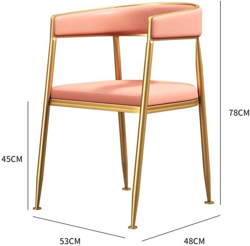 Chaise de salle à manger Jambes en métal PU Coussin de siège rembourré Designer contemporain for salon de bureau Cuisine à manger (Color : White) Pink