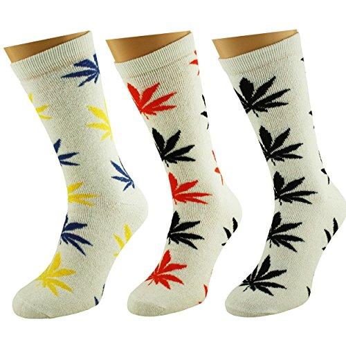 Lot de 3 paires de chaussettes de Rasta Weed Feuille Sports haute Crew Noir Blanc Vert UK 7–11 EUR 40–46 - Blanc - Taille Unique