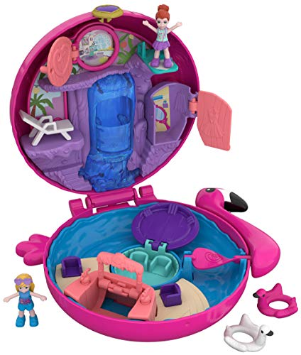 Polly Pocket Pocket World Flamingo Floatie Compact with Surprise Reveals, Micro Dolls & Accessories [Amazon Exclusive]