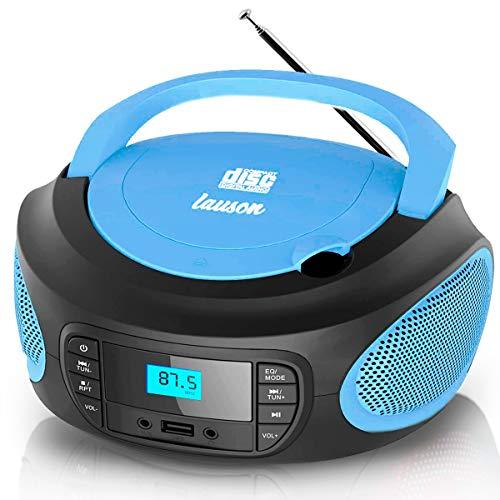 Lauson LLB993 Tragbarer CD-Player, CD-Radio, Boombox, CD Player für Kinder, kinderradio mit cd und USB, Stereoanlage, LCD-Display, Netz & Batterie, Blau
