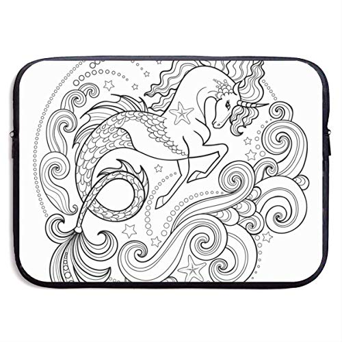 Beautiful Sea Uni-Corn Surrounded by Waves 13-15 Inch Laptop Sleeve Bag Portable Dual Zipper Case Cover Pouch Holder Pocket Tablet Bag,Water Resistant for Women Men Unisex