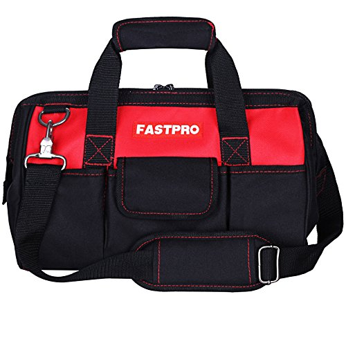 FASTPRO 14-Inch Zip-top Wide Mouth Open Storage Tool Bag, Classic Black&Red Design, Fashionable Design, 600D Polyester Fabric Material for Quality Endurance, With Adjustable Shoulder Strap