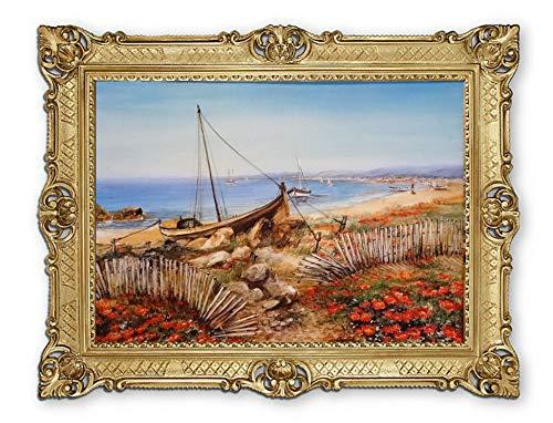 Lnxp Prachtig schilderij M35 kunstenaar: Crystal boot boten schip schip strand zee scheepsafbeelding zeilschip zeilboot golven maritiem 90x70 cm afbeeldingen barok antiek repro