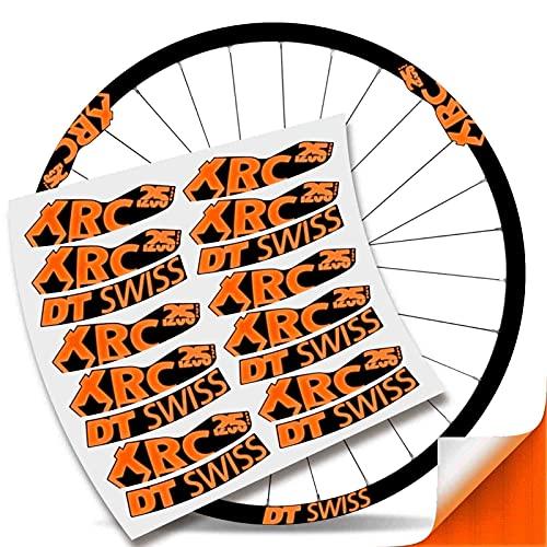 Kit Pegatinas Bicicleta Stickers LLANTA DT Swiss XRC 25 1200 29' MTB BTT B (Naranja Reflectante)