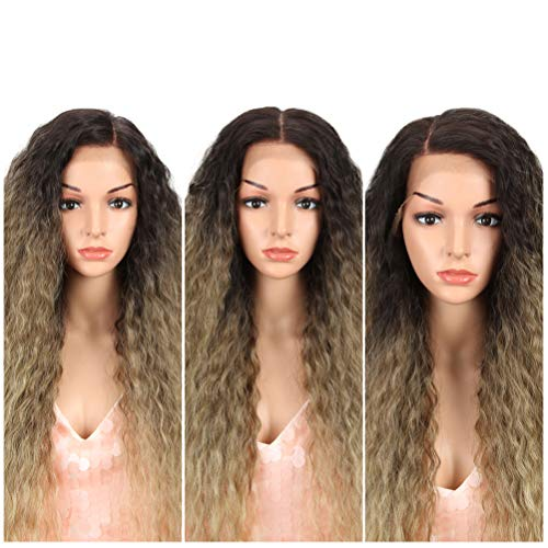 """Style Icon Easy-360 Lace Wigs 29"""" Free Part Lace Front Wigs Synthetic Wigs Ombre Ash Blonde Lace Wig Density 130% (29"""", TAT4/10/16A)"""