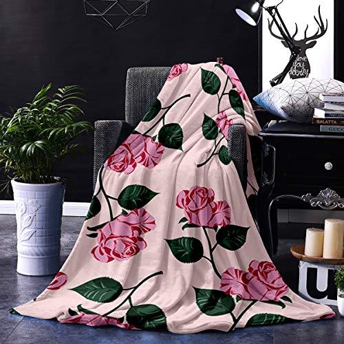 Just Comfort Manta de Franela para el día de San Valentín de 50 x 80 Pulgadas, acogedora, cálida, mullida, de Felpa, para Cama, sillón, Sala de Estar, Estilo Victoriano, diseño de Rosas