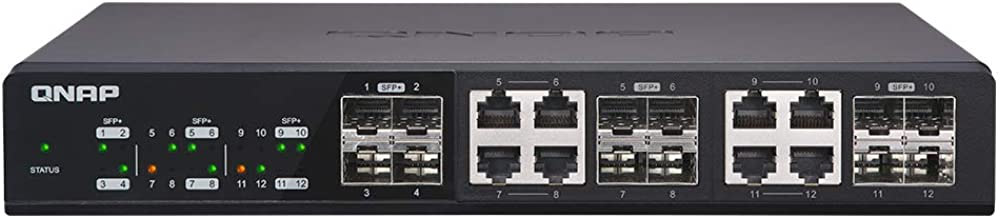 QNAP QSW-1208-8C-US 12-Port Unmanaged 10GbE Switch Twelve SFP+ with Shared Eight 10GBASE-T Ports