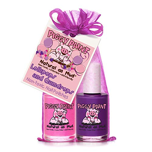 Piggy Paint 100% Non-Toxic Girls Nail Polish - Safe, Chemical Free Low Odor for Kids, Lollipops and Gumdrops (Bright Pink, Purple) Great Stocking Stuffer for Kids