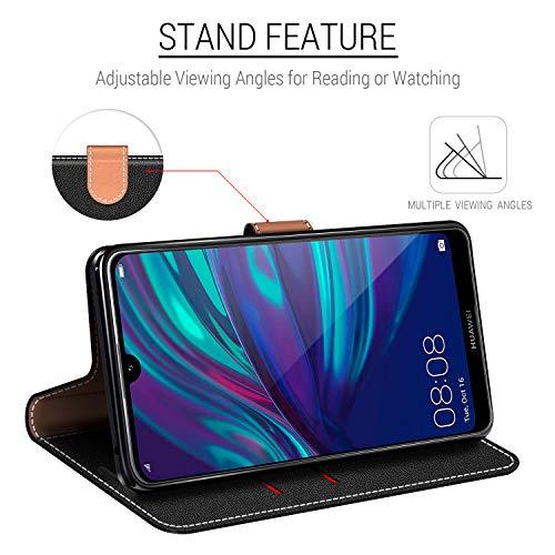 COODIO Handyhülle für Huawei Y7 2019 Handy Hülle, Huawei Y7 2019 Hülle Leder Handytasche für Huawei Y7 2019 Klapphülle Tasche, Schwarz/Rot - 3