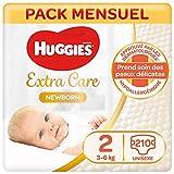 Huggies, Couches bébé Taille 2 (3-6 kg), 210 couches, Nouveau-nés, Unisexe, Avec indicateur d'humidité, Pack 1 mois de consommation, Newborn