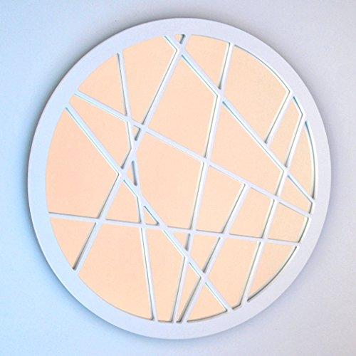 DECOHOGAR.SHOP Miroir Mural Rond - Zig Zag Petit- 40 x 40 cm - Laqué Noir