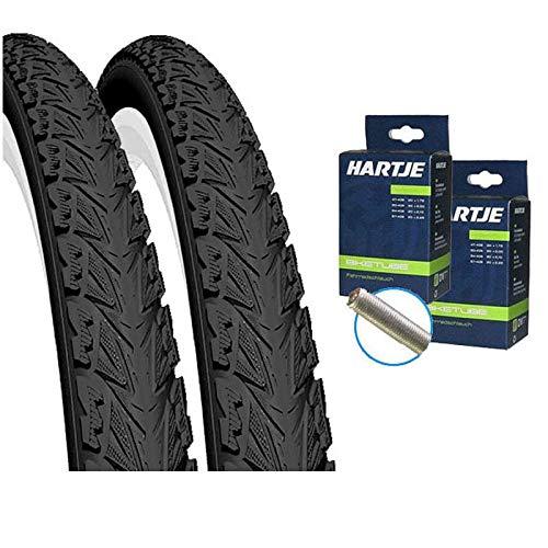 Set: 2X MITAS Sepia Fahrrad Reifen schwarz 42-622 / 700x40C + SCHLÄUCHE Autoventil