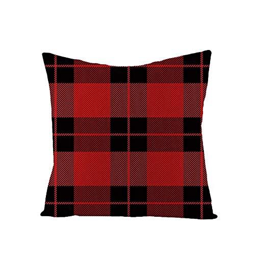 YYRY 4 Piezas/Juego de Fundas de Almohada cuadradas de Lino Suave Color sólido a Cuadros Rojo-Negro Decora tu sofá, Sala de Estar y Cama (sin Inserto ni Relleno)