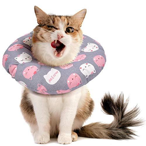 MAOYUTOU Katze Schutzkragen, Halskrause Katzen Halsband Soft, Katzenkätzchen Elizabeth Kragen, Verstellbares Schutzhalsband für Katzen Verhindern DASS Haustiere Stiche, Wunden