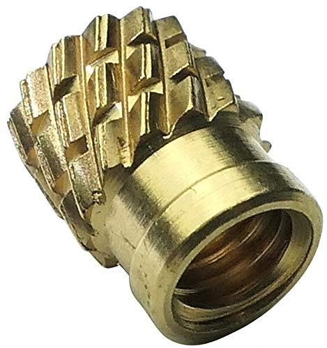AERZETIX - Juego de 10 Insertos Roscados a Presión - Rosca M3 - Longitud 5.3mm - Ø4.2mm - Ltón - para Plástico Termoestable - C19126