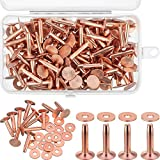 100 Sets Copper Rivets and Burrs Washers Leather Copper Rivet Fastener for Belts Wallets Collars Leather DIY Craft Supplies (3/4 Inch, Size 9)