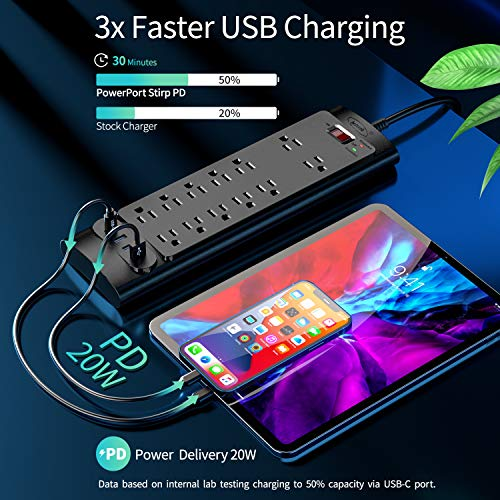 USB C Power Strip with PD 20W, Bototek Surge Protector with Power Delivery,12 Outlets and 4 USB Ports (1 USB-C, 3 USB-A), 6 FT Extension Cord for Home, Office, and More (2980 Joule)