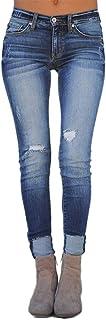 YOUCAI Pantalones de Mezclilla Mujer Skinny Jeans Ajuste Regular Vaqueros con Rotos Jeans Elástico Vaqueros Push Up Vaquer...