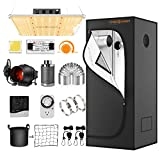 """Spider Farmer Grow Tent Kit Complete SF-1000 Dimmable Full Spectrum LED Grow Light Samsung Diodes & MeanWell Driver 27"""" X 27"""" X 62""""Growing Tent 4 Inch Fan Filter Combo Setup Package System Veg Flower"""