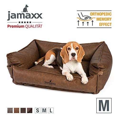 JAMAXX Premium Leder-Sofa Orthopädische Memory Visco Füllung, Hohe Seitenränder, Hunde-Couch mit Kunstleder Bezug, Reißverschluss, Hundebett PDB2019 (M) 90x70 braun