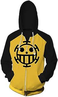 One Piece Sudadera con Capucha Trafalgar Law Hoodie Anime Sudadera Cosplay Disfraz de algodón Jolly Roger The Heart Pirates Crew Casual Pullover Jumpers Bolsillos