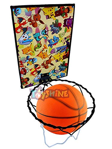Toyshine Cartoon Design Indoor - Door and Wall Mountable Basketball Hoop Set with 7 No Basketball - Multicolor (SSTP)