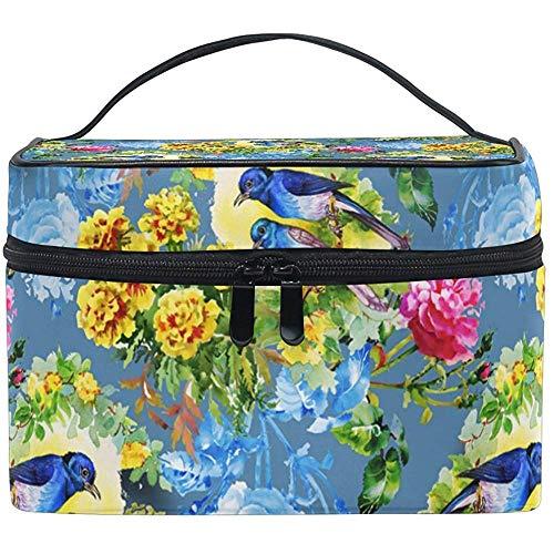 Oiseaux exotiques avec des fleurs sac cosmétique voyage maquillage train cas stockage organisateur