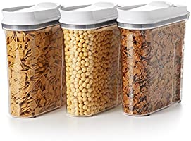 OXO Good Grips 3-Piece Airtight POP Cereal Dispenser Set, Clear, 3 Piece Cereal Set [Dispenser]