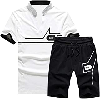 Men's Casual Tracksuit T-Shirts and Shorts Running Jogging Athletic Sports Set