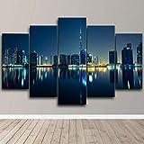 BHJIO 5 Piezas Cuadro sobre Lienzo Imagen Dubai Emiratos Emiratos Árabes Unidos City Nightscape Impresión Pinturas Murales Decor Fotos para Salon Dormitorio Baño Comedor Regalo 80X150Cm
