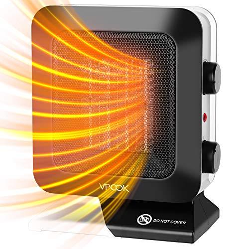 VPCOK Calefactor Ceramico Bajo Consumo Calefactor de Aire Caliente, 3 Modos, Termostato Regulable, Calefactor Baño Bajo Consumo, PTC Elemento de Cerámica