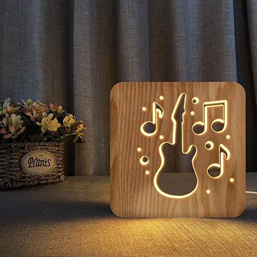 3D Holzbecher Musik Gitarre Form LED USB USB Nachtlicht Kinderzimmer 3D dekorative Tischlampe warmweiß Kindergeschenk