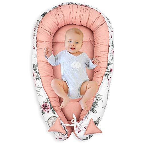 Amazinggirl Nido para Bebe - Reductor de Cuna Nido Bebe Recien Nacido algodón con Certificado Oeko-Tex (Atrapasueños - Algodón Rosa, 90 x 50 cm)