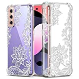 GREATRULY Floral Clear Case for Galaxy S21 for Women/Girls,Pretty Phone Case for Samsung Galaxy S21,Flower Design Slim Soft Transparent Drop Proof TPU Protective Silicone Bumper Cover Shell,FL-S