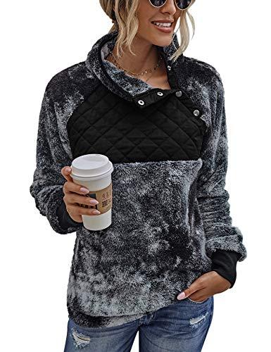 Womens Winter Fuzzy Outerwear Long Sleeve Zip High V Neck Tie Dye Sweatshirt Pullover Loose Sweater Multi Black S