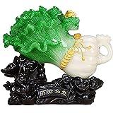 Inicio Accesorios Zxb-Shop Estatua Escultura Feng Shui BAI Choi/Pok Choi (El Repollo) Estatua para La Riqueza Suerte Artesanía De Feng Shui De La Suerte Gabinete De Televisión Decoración del Hogar