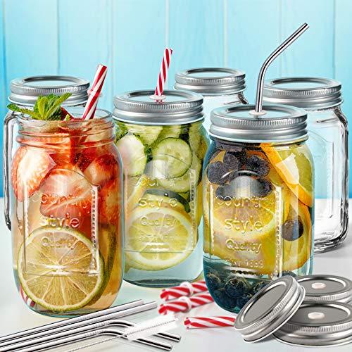 Masthome Juego de 6 Vasos de Cristal con Pajitas,500ml,Mason Jars,Tarros de Vidrio con Tapas con Extra 3 Tapas sin Poros