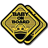 EPIC Goods Cute Baby On Board Large (5x5) Vinyl Decal Stickers, 2-Pack Safety Sign Gift - for Car Window, Truck, Van, Bumper, Laptop, Luggage, Flask, Water Bottle, Skateboard Helmet, Bike (Stickers)