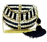Gauri Embrague de mosaico de metal negro indio para mujer bolso de honda étnico nupcial bolso de piedra de fiesta