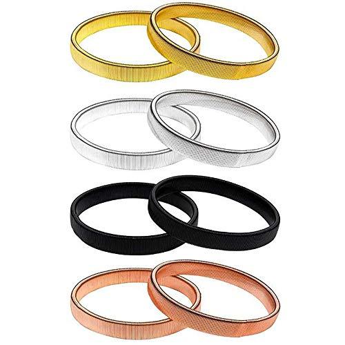 4 Paar Ärmelhalter, Stretch Metallarmbänder, Anti Rutsch Armband Ärmelhalter Sleeve Holders, zum Fixieren von langen Ärmeln