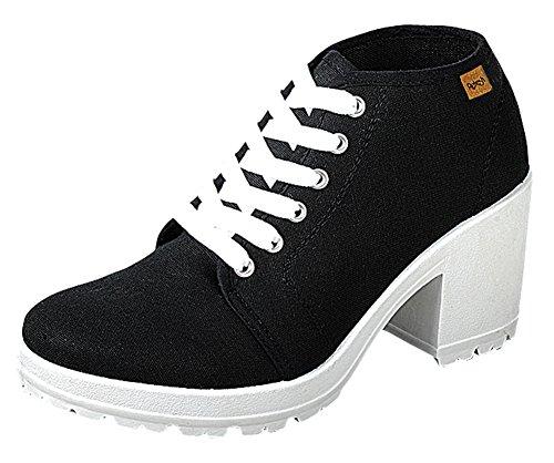 Refresh Footwear Women's 90s Closed Toe Lace Up Chunky Heel Fashion Sneaker (7.5 B(M) US, Black)