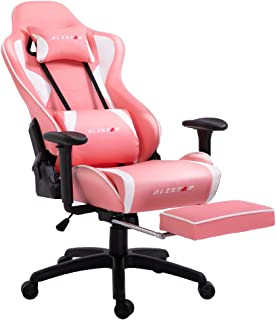 Alistar Gaming Chair Racing Office Chair High Back Computer Desk Chair PU Leather Chair Ergonomic and Executive Swivel Chair with Footrest Headrest and Lumbar Massage Support (AL-6019-PINK)