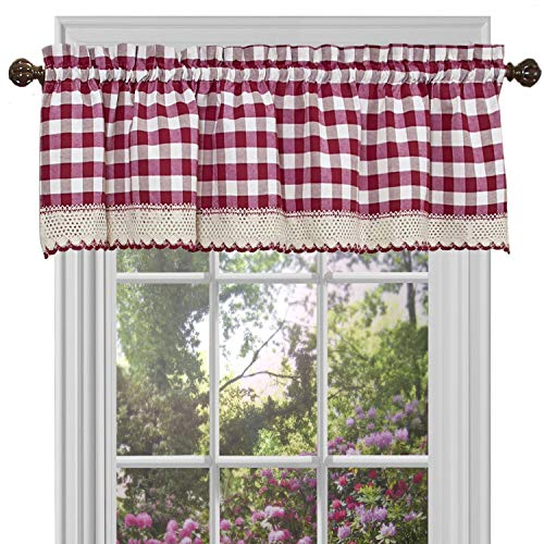 GoodGram Buffalo Check Plaid Gingham Custom Fit Farmhouse Window Valances - Assorted Colors (Burgundy)