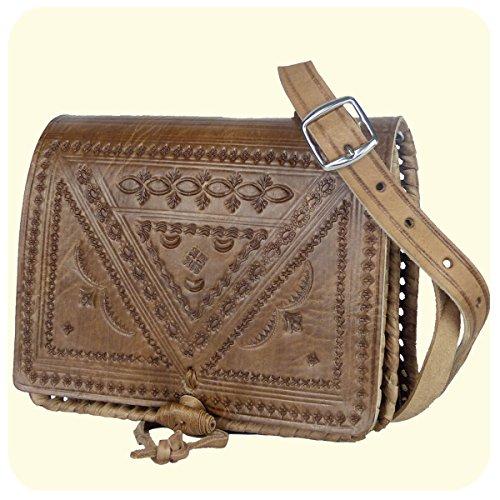"""Leder-Tasche """"Casablanca"""" • marokkanische Umhängetasche mit dekorativer Lederprägung • 100% Handarbeit aus Rindsleder • mit verstellbarem Schultergurt • als Abendtasche geeignet - Simandra"""